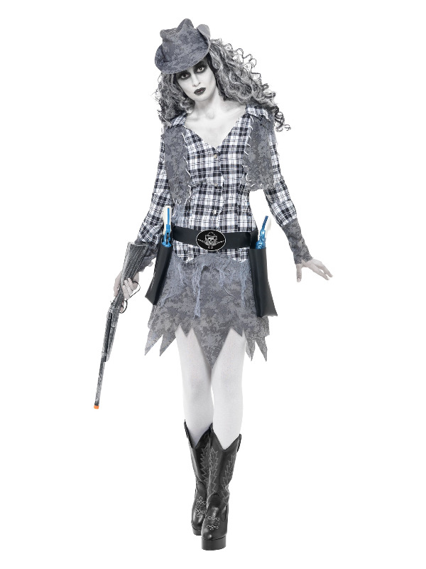 Ghost Town Cowgirl Costume, Grey