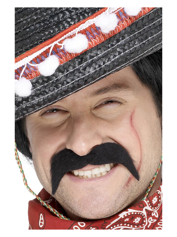 Mexican Bandit Tash, Black, Self-Adhesive