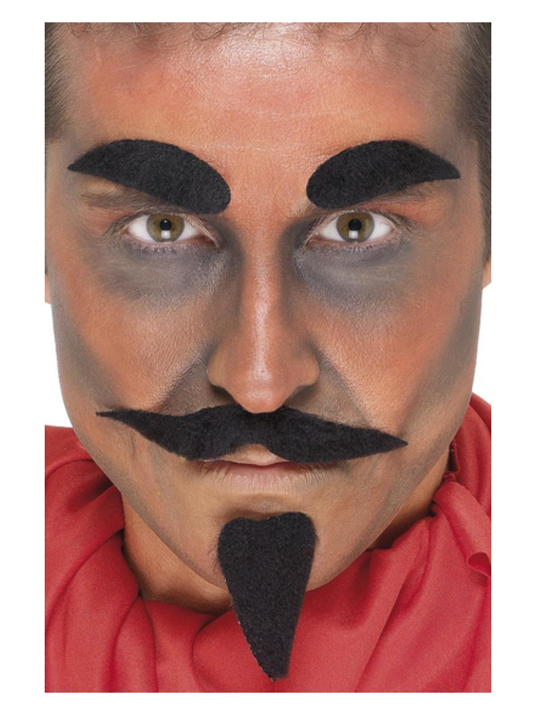 Devil Facial Hair Set, Black, with Tash, Brows & Beard, Self Adhesive