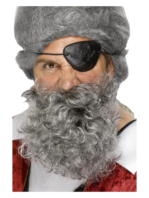 Deluxe Pirate Beard, Light Grey, Nylon