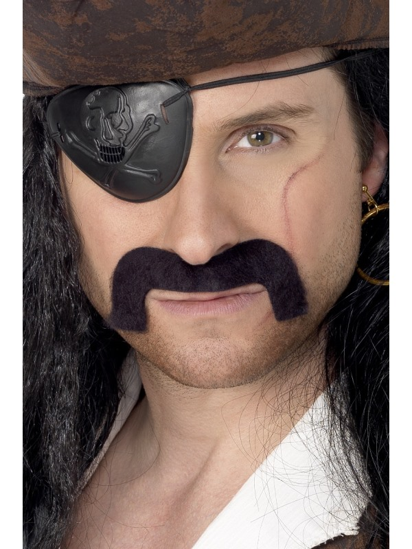 Pirate Tash, Black, Self-Adhesive
