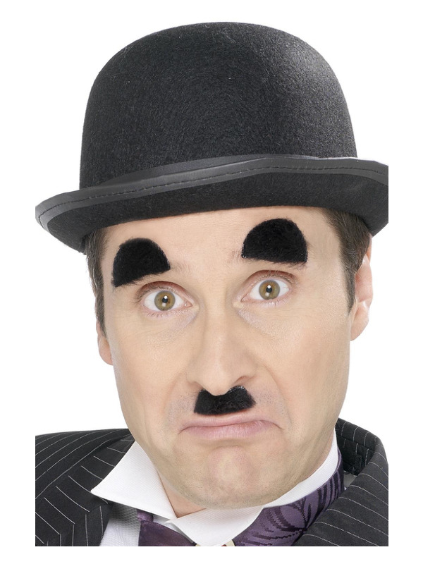 Chaplin Tash and Eyebrows, Black, Self-Adhesive