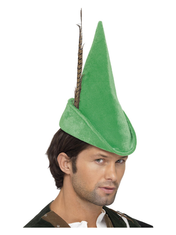 Robin Hood Hat, Green, with Feather, Deluxe