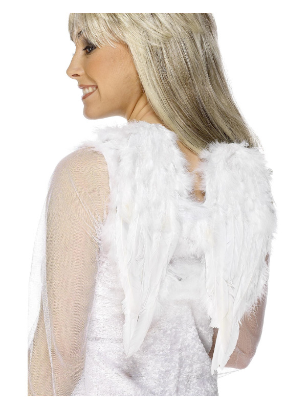 Angel Wings, White, Feathered, 30cmx40cm / 12inx16in