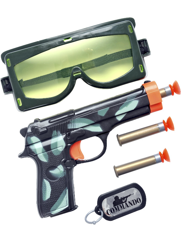 Military Set, with Gun, Bullets, Goggles and Dog Tag