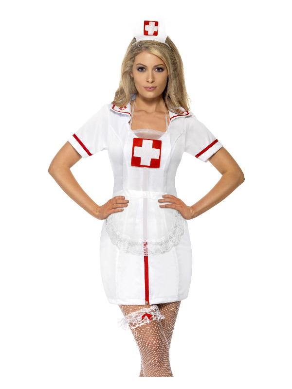 Nurse's Set, White, with Cap, Garter & Net Apron