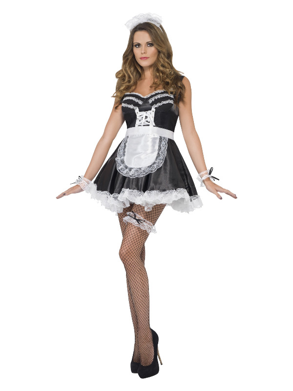 French Maid Set, Black & White, with Lace Cuffs, Hat, Apron and Garter