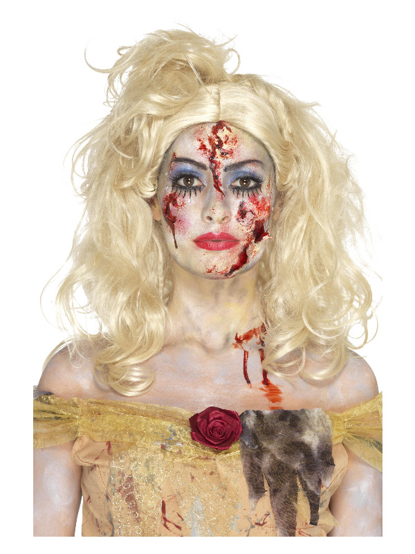 Smiffys Make-Up FX, Zombie Fairy Tale Kit, Aqua, with Facepaints, Lashes, Gems, Shimmer, Blood & Applicator