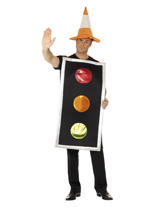 Traffic Light Costume, with Traffic Cone Hat