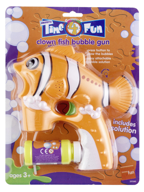 Clown Fish Bubble Gun, Orange, with Solution