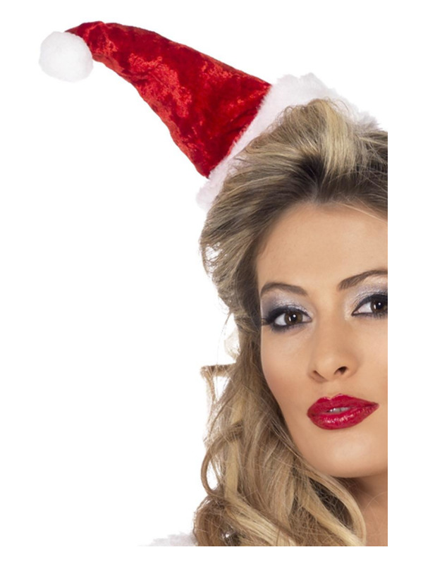 Mini Santa Hat, Red, on Headband