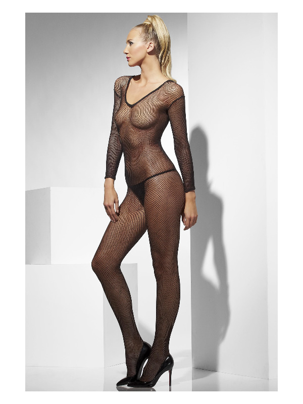 Fishnet Body Stocking, Black, V-Neck, Crotchless