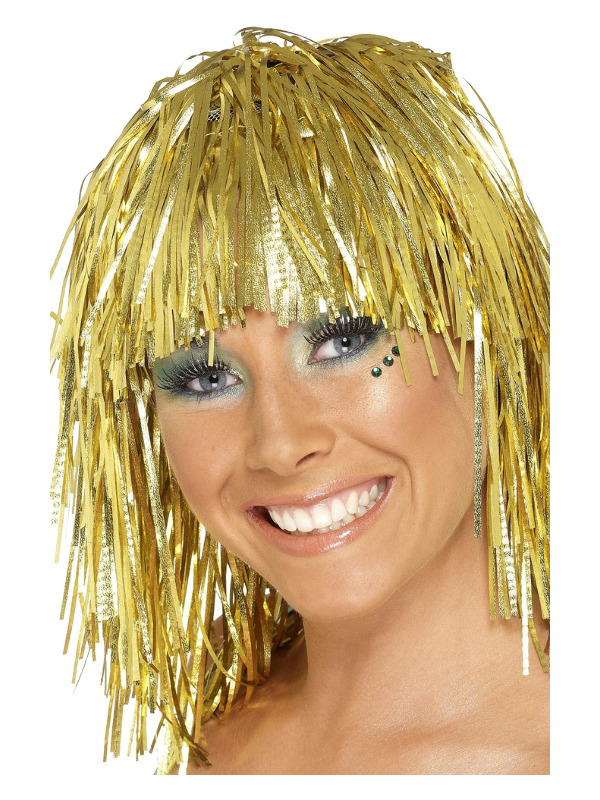 Cyber Tinsel Wig, Gold, Metallic