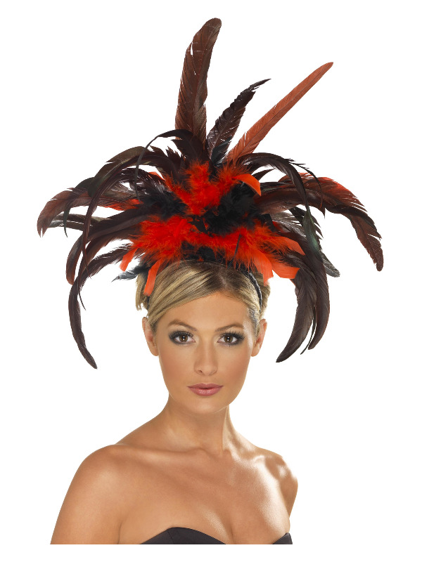 Burlesque Headband, Black & Red, with Feather Plumes