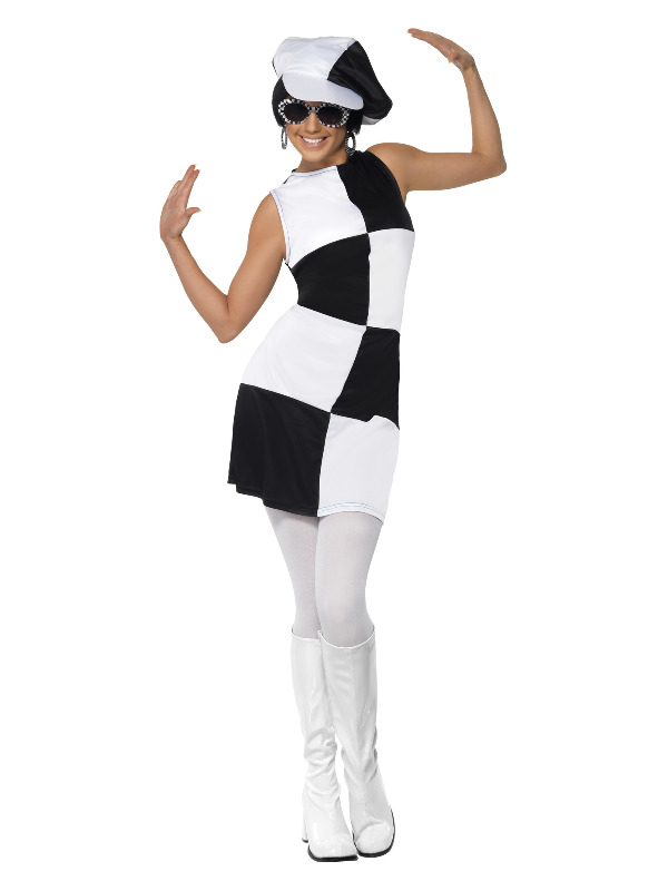 60s Party Girl Costume, Black & White
