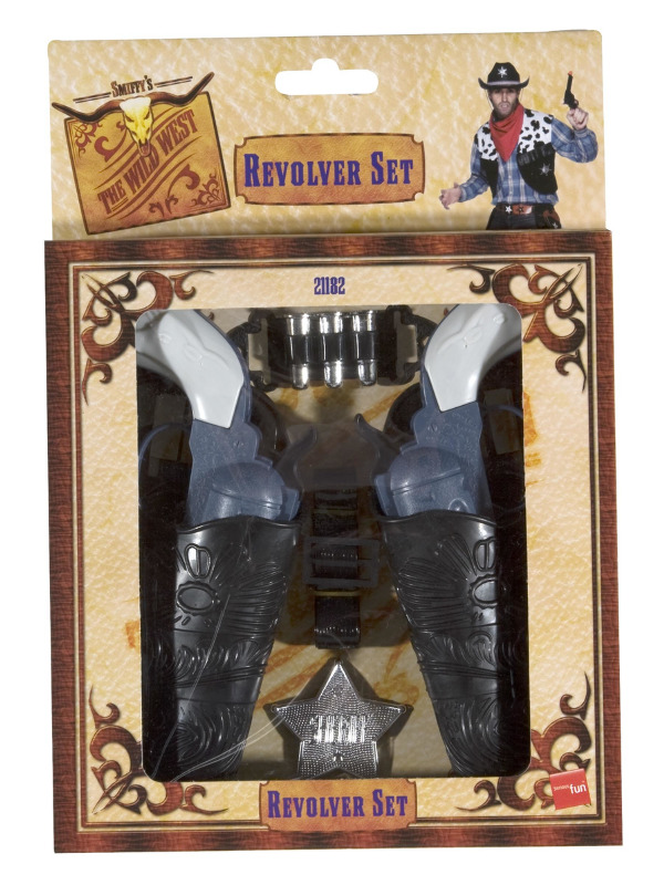 Wild West Gun Set, Grey, with Holsters, Bullets and Badge