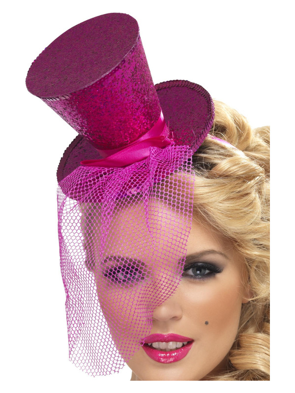 Fever Mini Top Hat on Headband, Hot Pink, with Detachable Netting