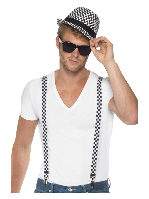 Ska Two Tone Instant Kit, Black & White, with Braces and Hat