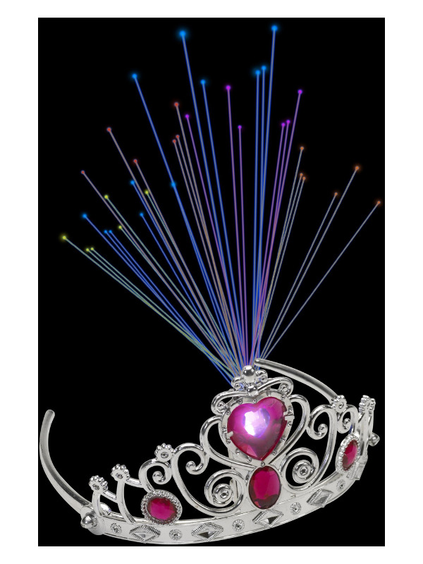 Light Up Fibre Optic Tiara, Pink Jewels, Silver