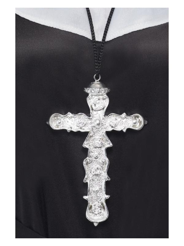 Ornate Cross Pendant, Silver, on Black Cord