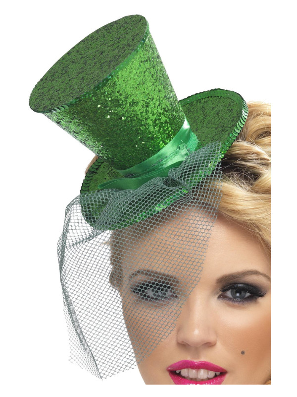 Fever Mini Top Hat on Headband, Green, with Detachable Netting