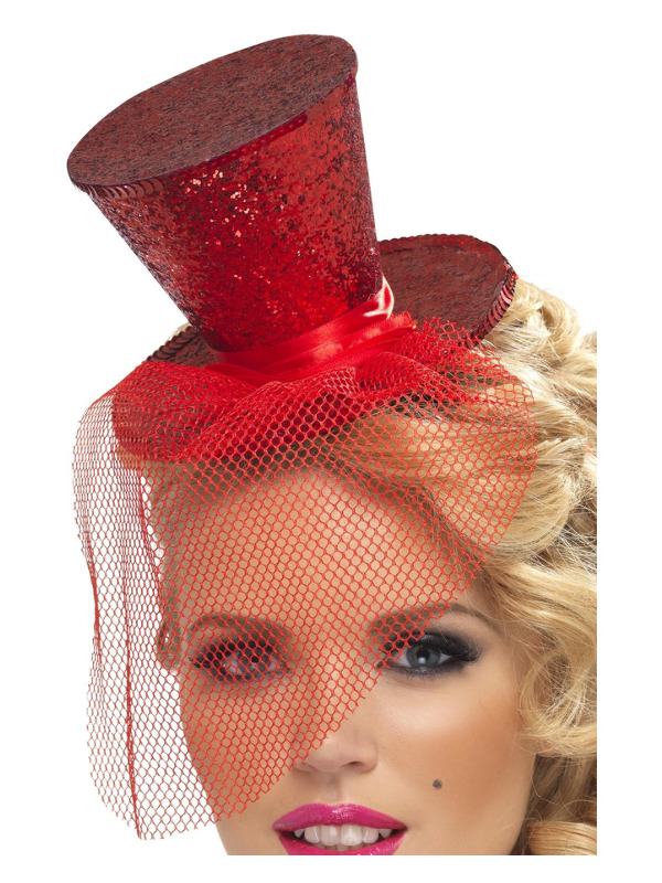 Fever Mini Top Hat on Headband, Red, with Detachable Netting