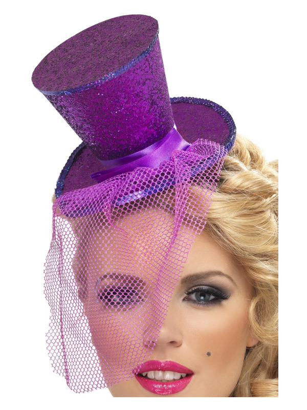 Fever Mini Top Hat on Headband, Purple, with Detachable Netting