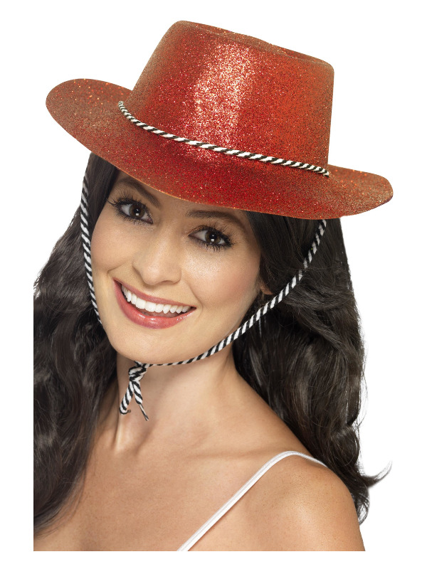 Cowboy Glitter Hat, Red, with Cord
