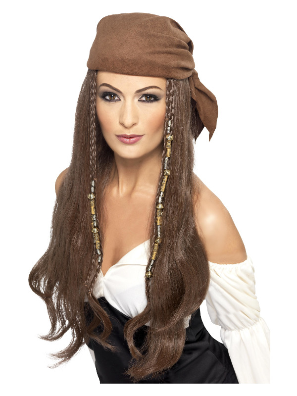 Pirate Wig, Brown, with Bandana, Beads and Charms