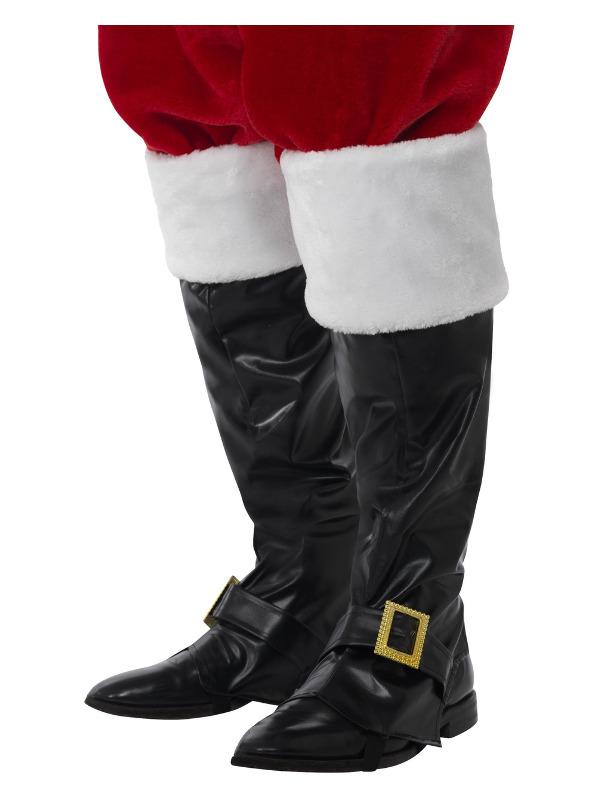 Santa Boot Covers, Deluxe, Black, Fur Tops