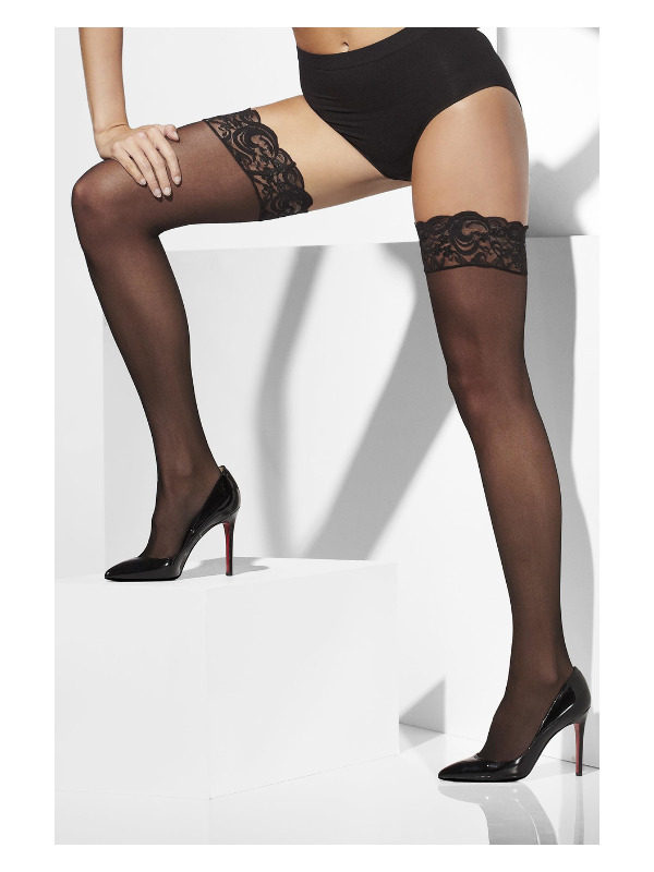 Sheer Hold-Ups, Black, Lace Tops with Silicone