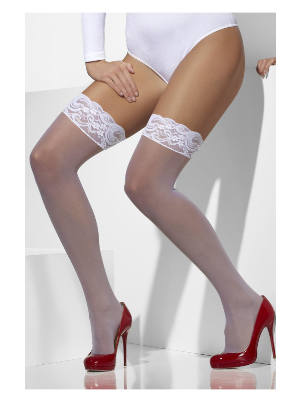 Sheer Hold-Ups, White, Lace Tops with Silicone