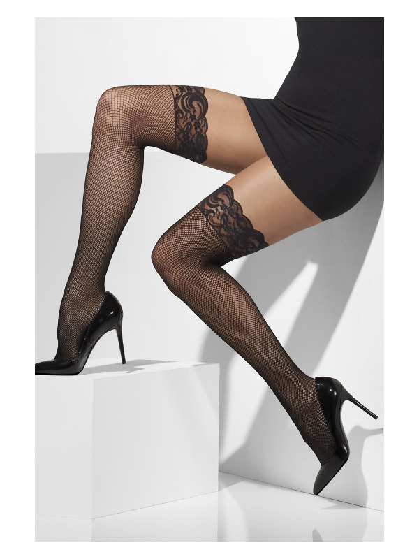 Fishnet Hold-Ups, Black, Lace Tops with Silicone
