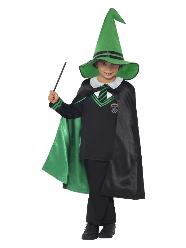 Wizard Boy Costume, Black & Green