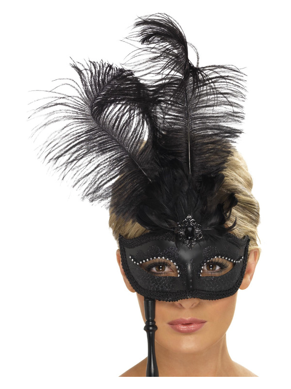 Baroque Fantasy Eyemask, Black, with Feathers and Handle