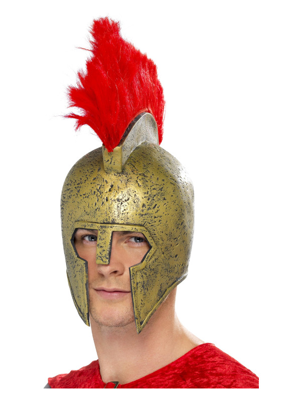 Perseus Gladiator Helmet, Gold, with Red Plume, Latex