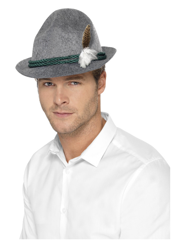 German Trenker Hat with Feather, Grey, Green Braiding
