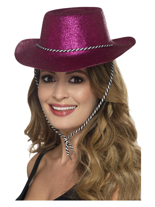 Cowboy Glitter Hat, Pink, with Chord