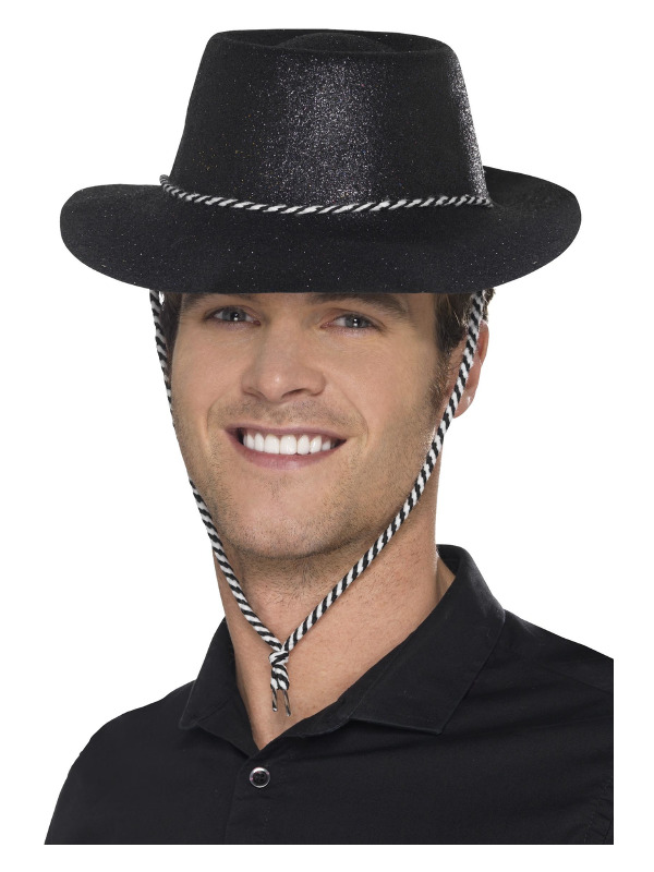 Cowboy Glitter Hat, Black, with Chord