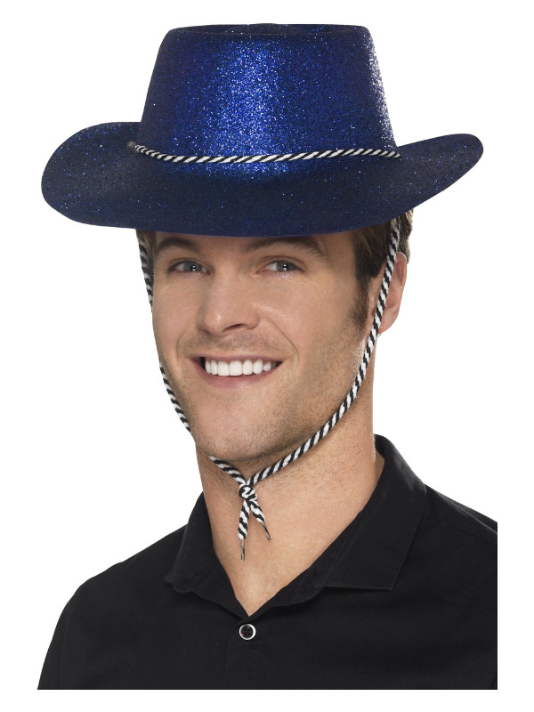 Cowboy Glitter Hat, Blue, with Chord