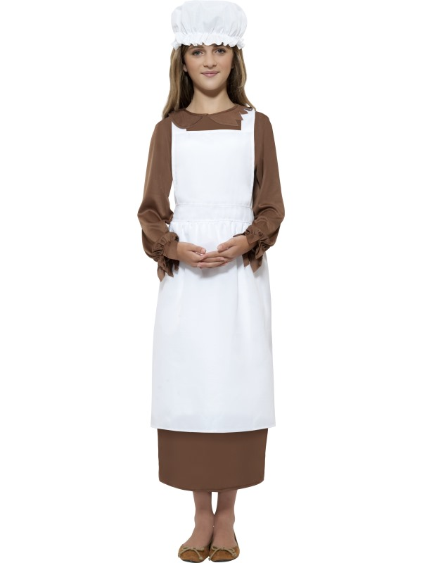 Victorian Kit, White, with Apron & Mop Cap
