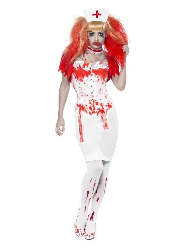 Blood Drip Nurse Costume, White