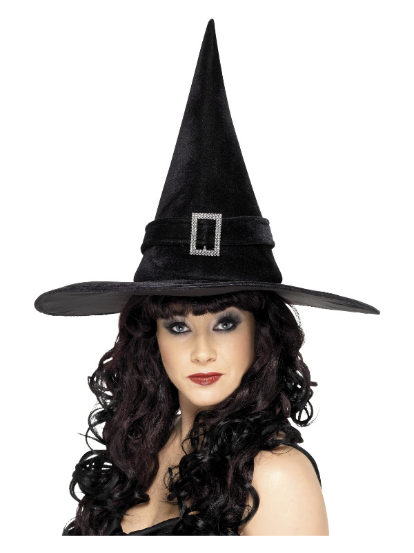 Witch Hat, Black, with Diamante Buckle