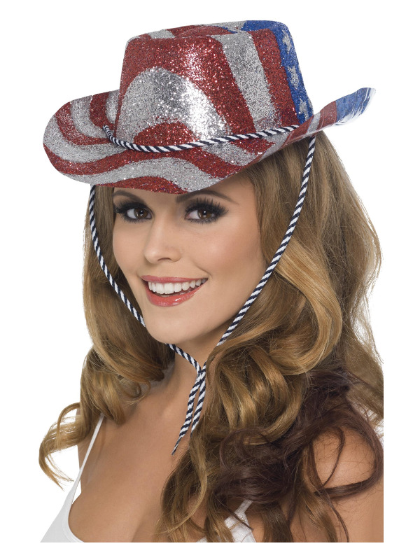 Cowboy Glitter Hat, Stars & Stripes, Red, Blue & Silver, with Cord
