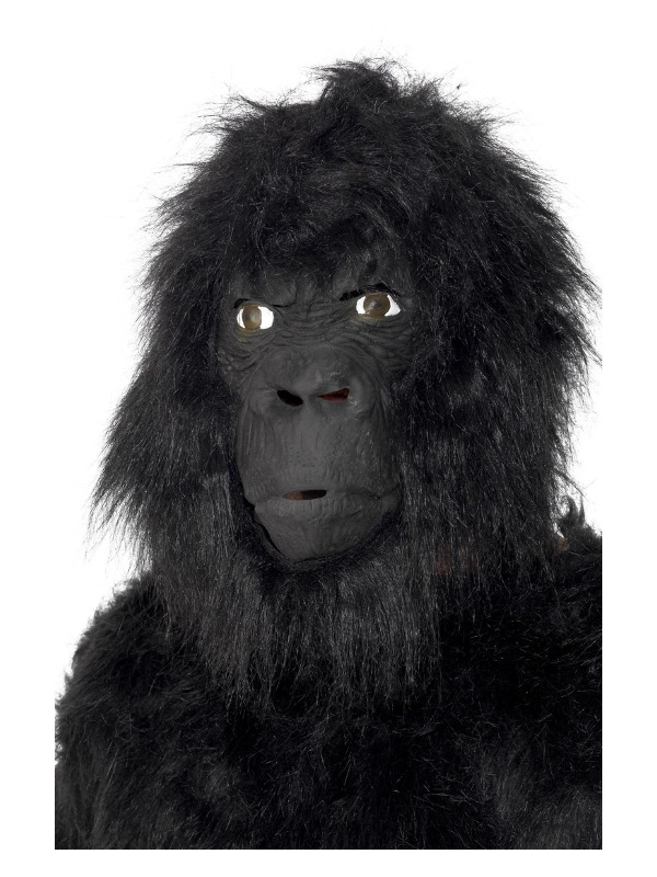 Gorilla Latex Mask, Black, Overhead, with Hair