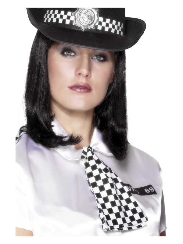Policewoman's Scarf, Black & White, with Elastic Neck Band
