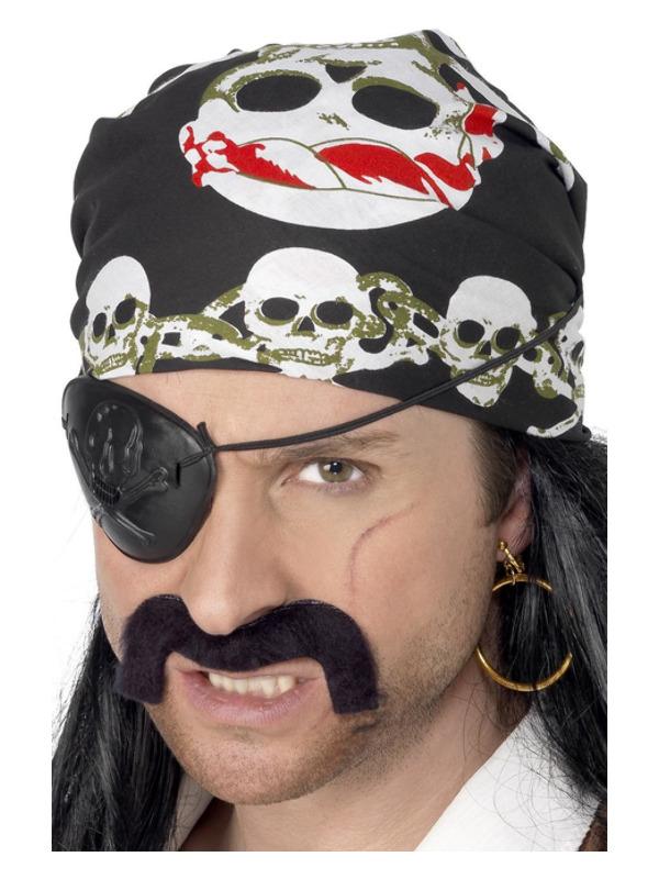 Pirate Bandana, Black, with Skull and Crossbones Print
