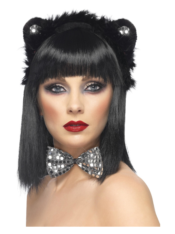 Cat Set, Black, Sequinned, with Ears & Bowtie
