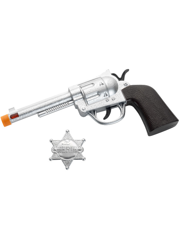 Western Roscoe Gun and Badge, Silver, Light Up & Sound