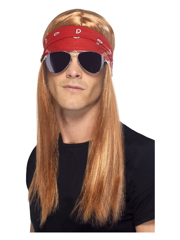 90s Rocker Kit, Auburn, with Wig, Bandana & Sunglasses